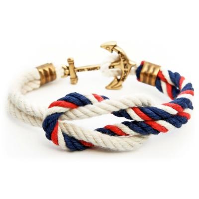 Kiel James Patrick 美國手工船錨水手繩結單圈手環 深藍紅白編織