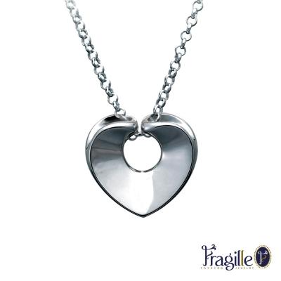 彩糖鑽工坊 雙心銀項鍊 Fragille 系列