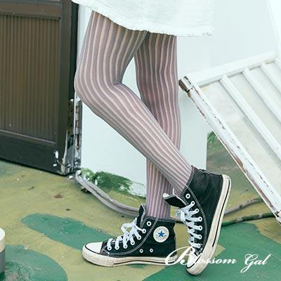 Blossom Gal 日韓風直線條紋顯瘦美型網襪(共七色)