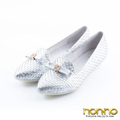 nonno-時尚奢華-編織低跟樂福休閒鞋-銀
