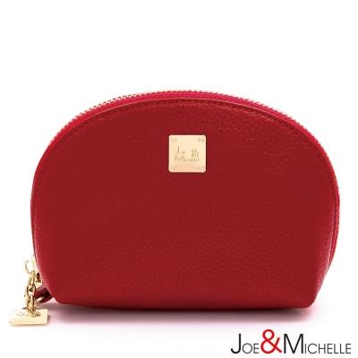 J&M 真皮莉絲貝殼手拿零錢包  甜莓紅