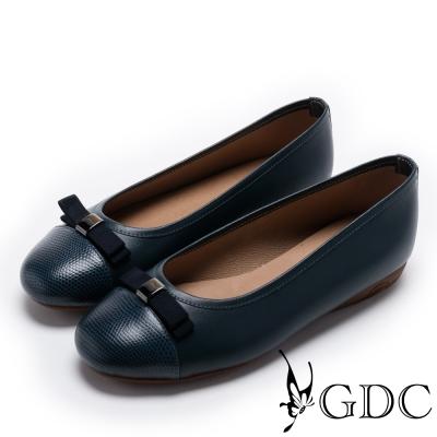 GDC-真皮氣質典雅蝴蝶結圓頭平底鞋-藍色