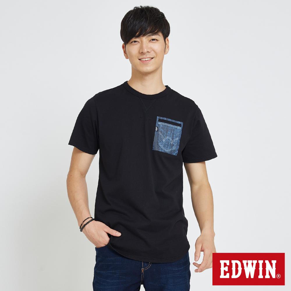 EDWIN 牛仔貼袋印花T恤-男-黑色