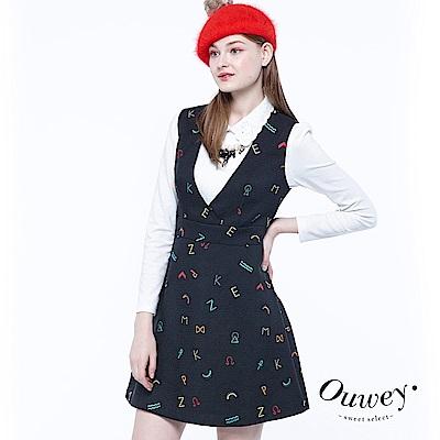 OUWEY歐薇 趣味字母刺繡V領洋裝(黑)