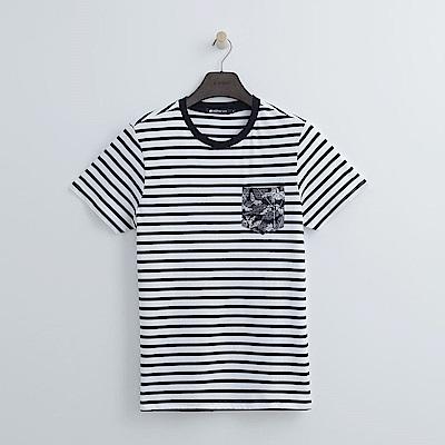 Hang Ten - 男裝 - 拓印口袋條紋T恤-深藍色