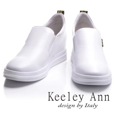 Keeley Ann 全真皮簡約街頭字母舒適內增高休閒鞋(白色-Ann)