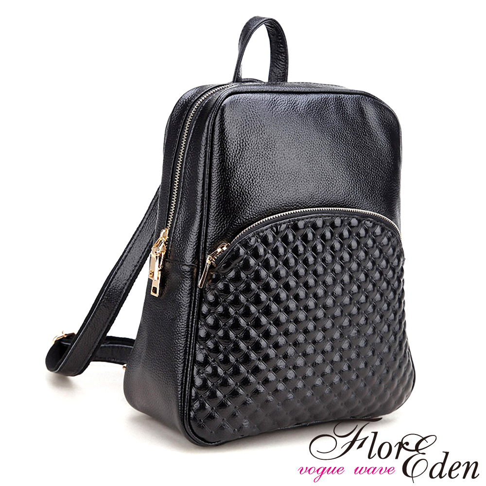DF Flor Eden - 歐式經典菱格壓紋真皮款3用後背包-經典黑
