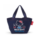 Sanrio HELLO KITTY*BOOFOOWOO刺繡帆布迷你提袋(牛仔藍-側坐牛奶