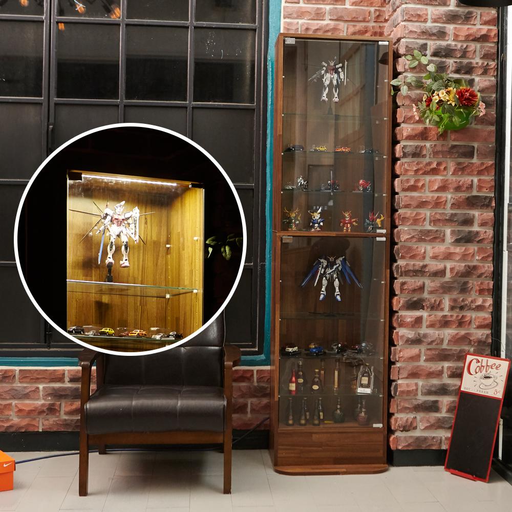 澄境 工業風180cm附LED玻璃置物櫃/展示櫃47.5x39.5x180cm-DIY