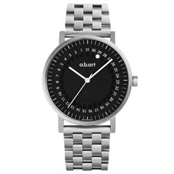 a.b.art O系列 經典日期圓盤跳點不鏽鋼腕錶-黑/40.5mm