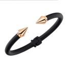 VITA FEDE義大利時尚珠寶精品 黑色鍍玫瑰金鉚釘 雙色C式粗手環