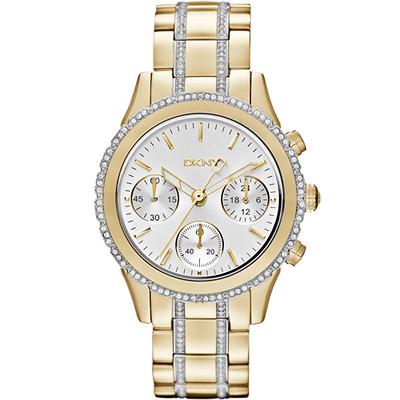 DKNY 雅緻秋冬晶鑽計時腕錶-銀x半金版/38mm