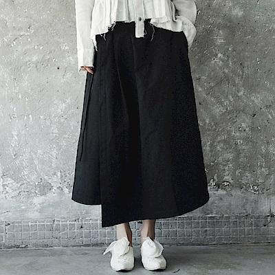 新款暗黑風水洗做舊不規則綁帶褲裙-設計所在