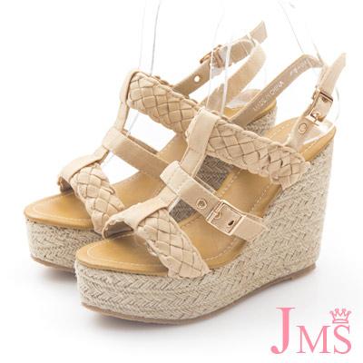 JMS-歐美性感風-寬版編織高跟楔形涼鞋-杏色