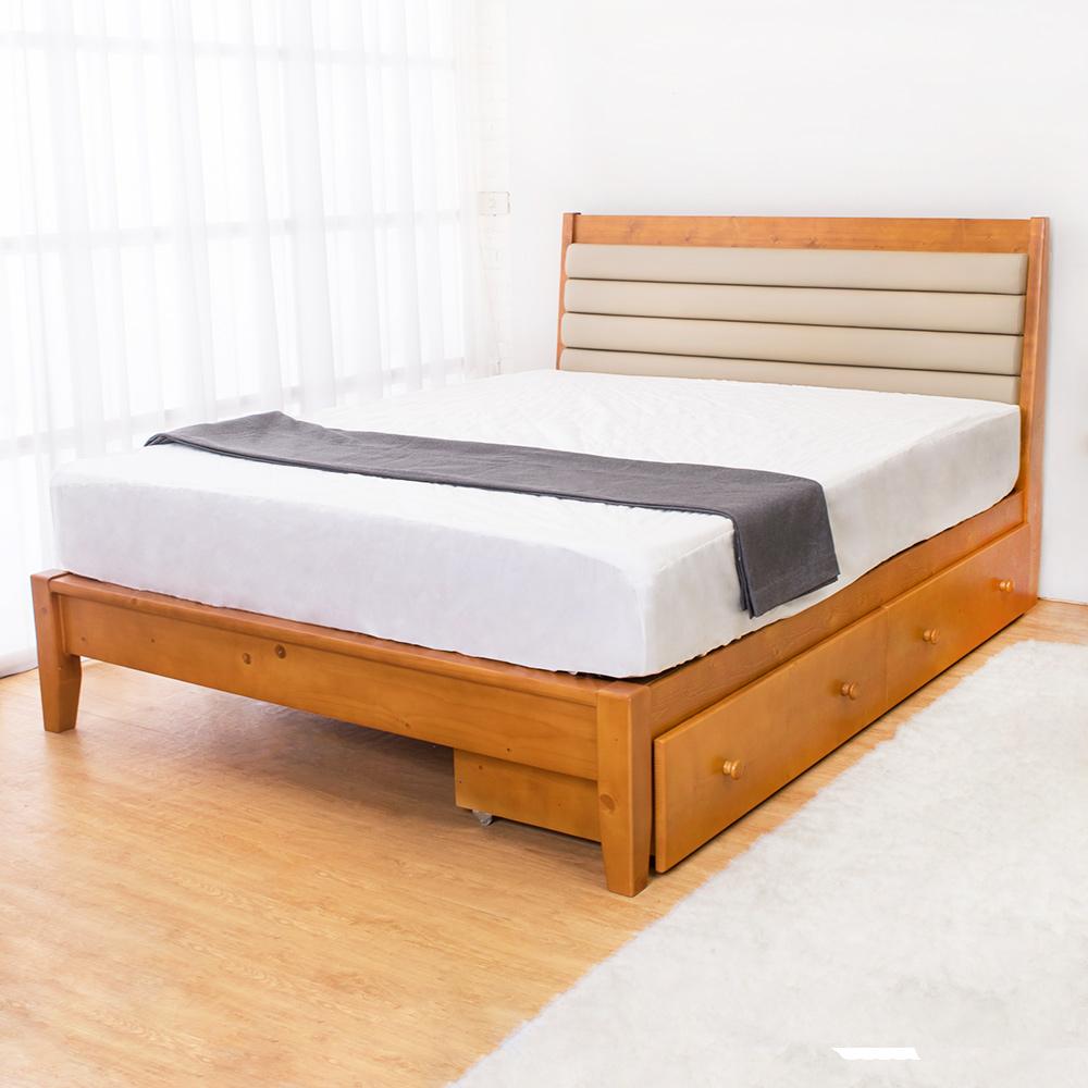 Bernice 卡諾爾5尺實木雙人床架 抽屜型