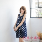 日系小媽咪孕婦裝-挺版壓折腰抽繩無袖洋裝 (共二色)