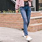 彈性雙排釦刷色破損感牛仔褲-OB嚴選