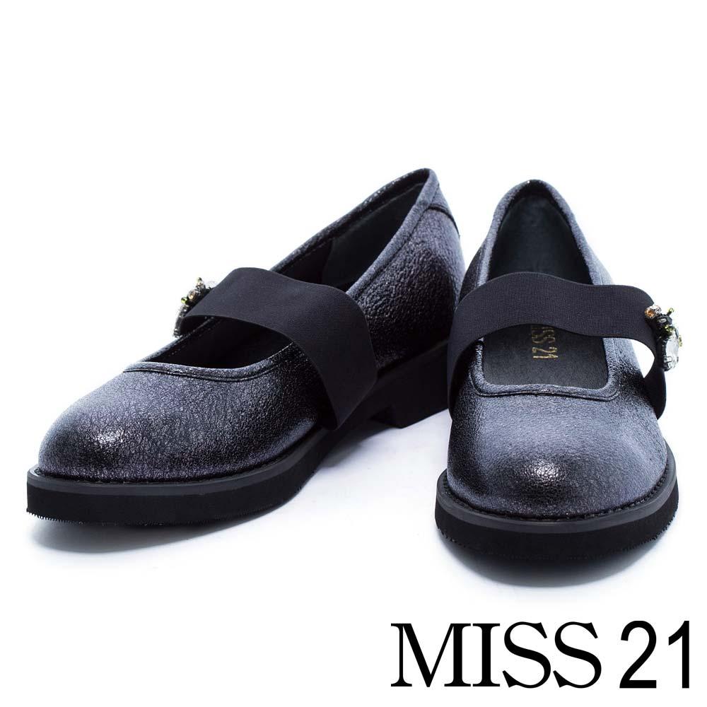 跟鞋 MISS 21 復古水鑽小蜜蜂金屬牛皮鬆緊帶低跟娃娃鞋-黑