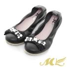 MK-真皮手作優選-經典法式水鑽平底娃娃鞋-黑色