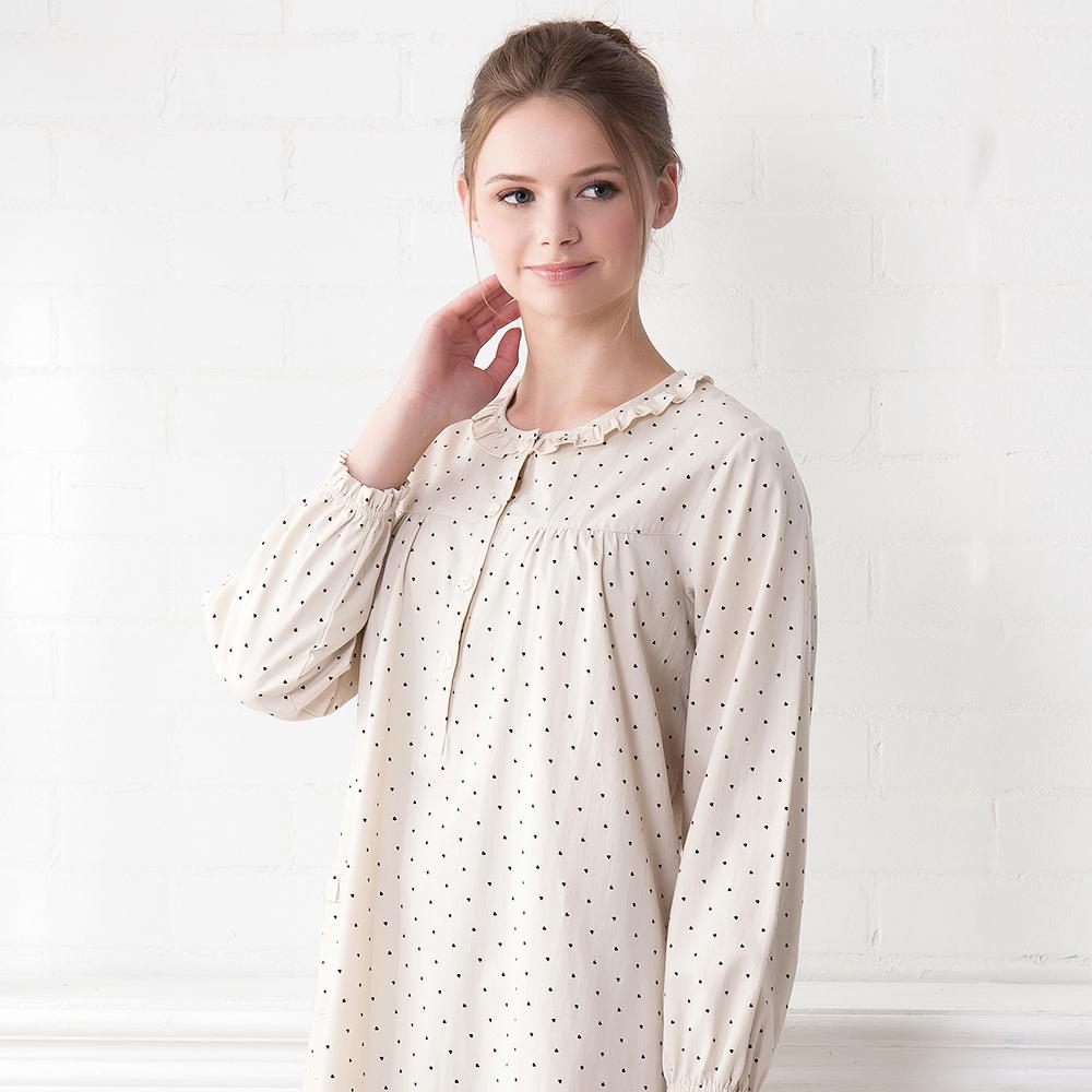 羅絲美睡衣 - 點點糖紗長袖洋裝睡衣(卡其色)
