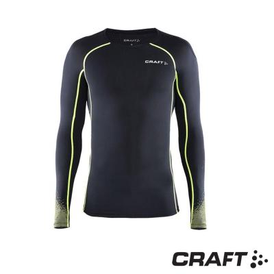 【瑞典 Craft】男款 DELTA 專業級壓縮長袖上衣_黑/綠