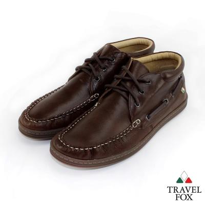 Travel Fox(男) 型男最大 半高筒帆船式綁帶休閒鞋 - 迷人咖