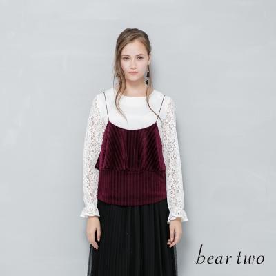 beartwo 百摺絲絨細肩帶背心(二色)-動態show