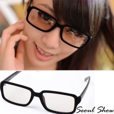 Seoul-Show-時尚亮眼毛絨-方框平光眼鏡-303黑色