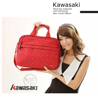 Kawasaki  13 吋手提/肩背電腦公文包, 附長揹帶。可二用 (黑色)