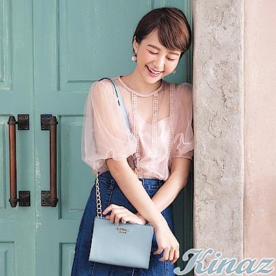 KINAZ 玫瑰花園鏈帶斜背包-愛麗絲藍-浪漫舞曲系列-快