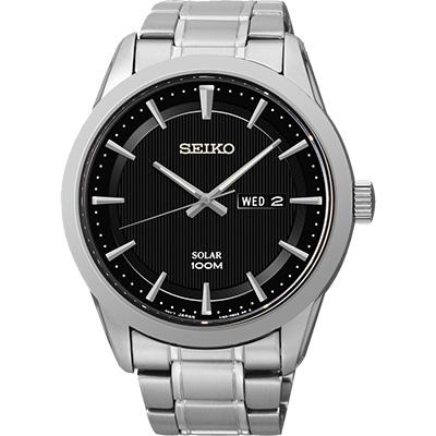 SEIKO 紳士風格太陽能時尚腕錶(SNE363P1)-黑/44mm