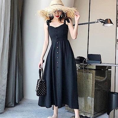 La Belleza渡假風肩綁帶吊帶排釦背心長洋裝