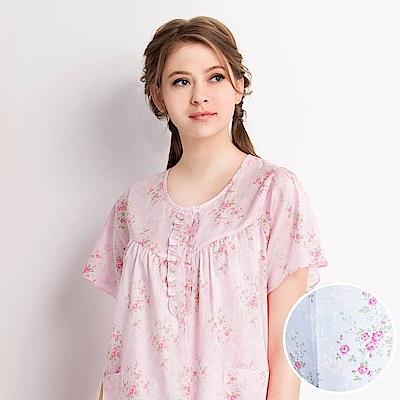 羅絲美睡衣-晨曦花園短袖褲裝睡衣(湖水藍)