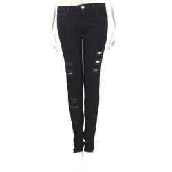 haikure 黑色破損設計合身牛仔褲