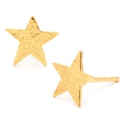 GORJANA 美國品牌 精緻手工波浪紋幸運星星鑲18K金耳環