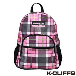 美國K-CLIFFS - 潮流格紋雙肩後背包-粉