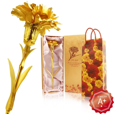 A+ 24K純金箔玫瑰花/康乃馨禮盒組(2選1)