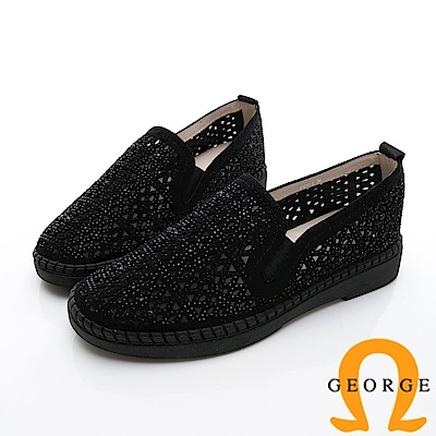 GEORGE 喬治-簍空金蔥平底休閒鞋-黑