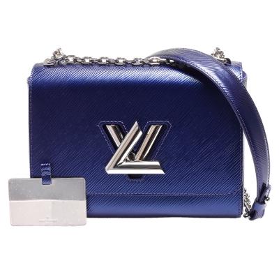 LV M51060 TWIST MM系列銀色金屬轉釦肩/斜背包(靛藍色)