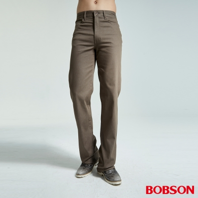 BOBSON 男款人字斜紋伸縮卡其直筒褲