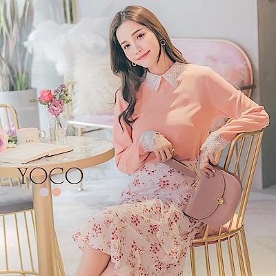 東京著衣-yoco 微甜日常優雅花邊蕾絲領袖襯衫-S.M.L(共二色)