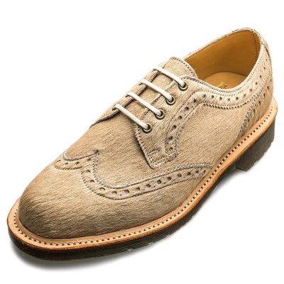 Dr.Martens-英國手工BEVERLEY馬毛牛津鞋-女款-米色