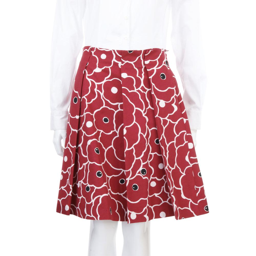 MOSCHINO 紅色花朵圖印抓褶設計及膝裙