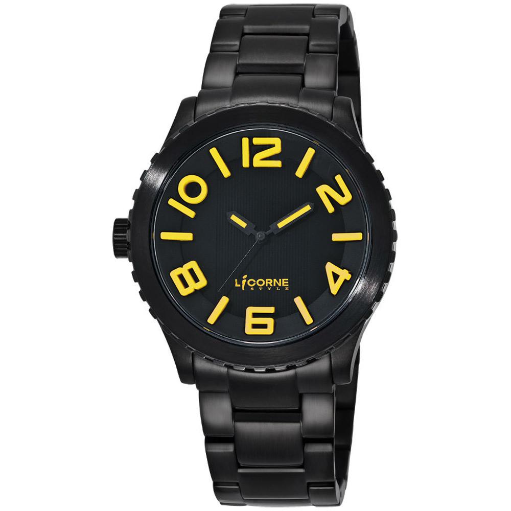 LICORNE 躍動積木王國時尚腕錶-黑黃/43mm