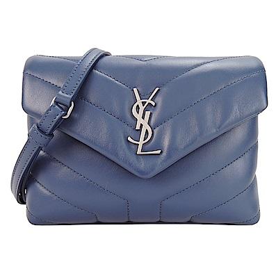 YSL Saint Laurent 銀LOGO牛皮Y字縫線翻小斜背包(蔚藍)