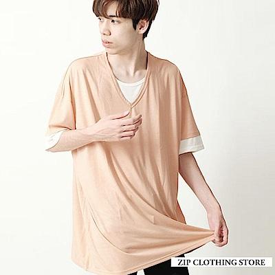 假兩件式長版素TEE(6色) ZIP日本男裝