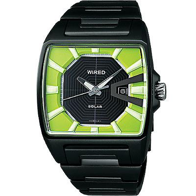 WIRED Solar太陽能日雜時尚腕錶(AUA015X)-介末綠/38mm