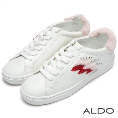 ALDO 彩色針織閃電毛海白綁帶休閒鞋~俏皮白色