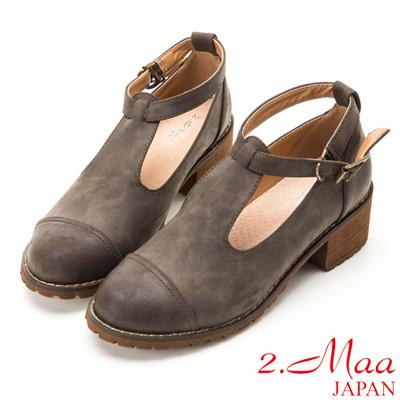2-Maa-文青復古氣質繞帶粗跟鞋-灰