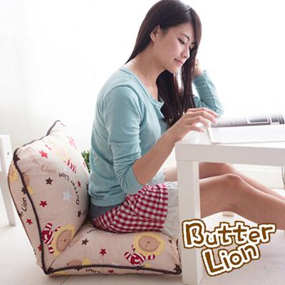【奶油獅】正版授權 台灣製造-可拆洗搖滾星星胖胖和室椅-米色
